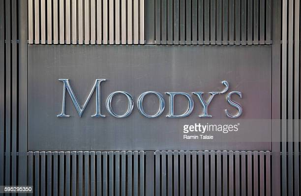 Moody's Corporation logo is photographed on the firm's headquarters in Lower Manhattan NY on September 9 2011 Moody's is a credit rating agency for...