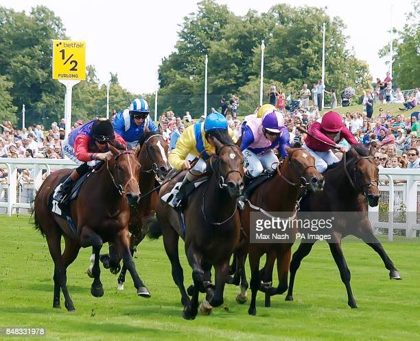 Moohaajim ridden by Andrea Atzeni wins the Anders Foundation EB E Crocker Bulteel Maidenstakes on day three of the Betfair Weekend at Ascot...