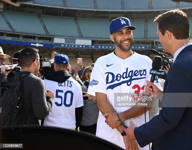 Mookie Betts and David Price n#33 are interviewed during a press conference at Dodger Stadium on February 12 2020 in Los Angeles California