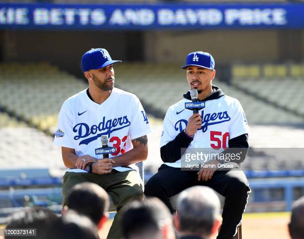 Mookie Betts and David Price of the Los Angeles Dodgers answer questions during an introductory press conference at Dodger Stadium on February 12...
