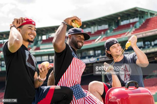 Mookie Betts Jackie Bradley Jr #19 and Andrew Benintendi of the Boston Red Sox pose for a portrait for the cover of Red Sox Magazine before a game...