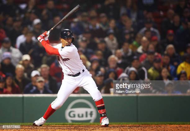 Mookie Betts of the Boston Red Sox bats during a game against the New York Yankees on April 26 2017 at Fenway Park in Boston Massachusetts