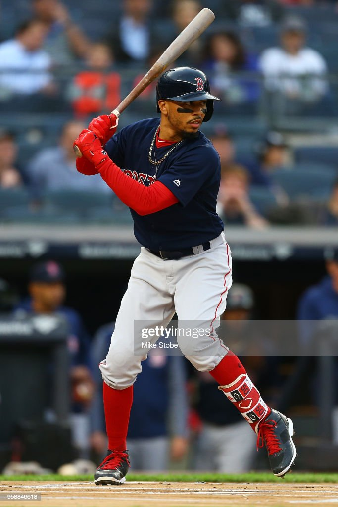 Mookie Betts #50 of the Boston Red Sox in action against the New York Yankees at Yankee Stadium on May 10, 2018 in the Bronx borough of New York City. Boston Red Sox defeated the New York Yankees 5-4.