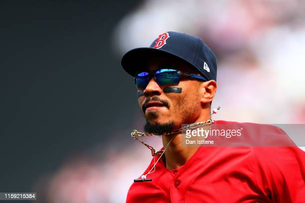 Mookie Betts of the Boston Red Sox looks on during the MLB London Series game between Boston Red Sox and New York Yankees at London Stadium on June...