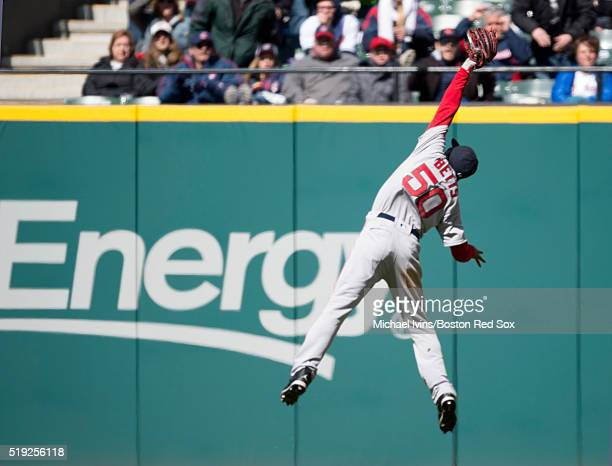Mookie Betts of the Boston Red Sox makes a leaping catch against the Cleveland Indians in the fifth inning on April 5 2016 at Progressive Field in...