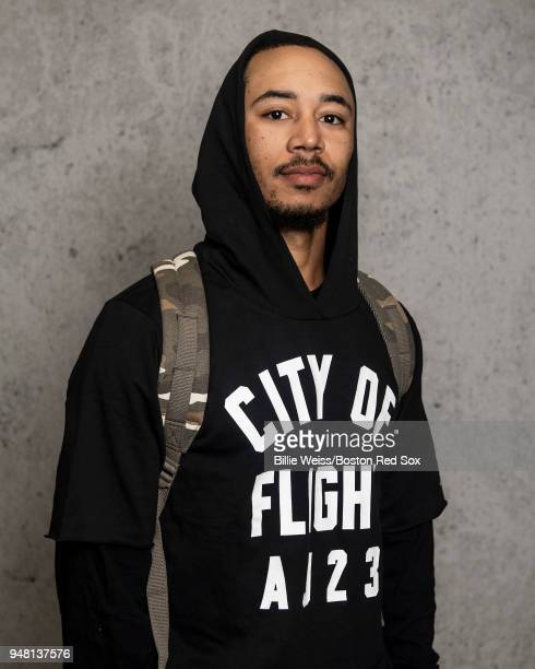 Mookie Betts of the Boston Red Sox poses for a portrait before a road trip on April 16 2018 at Fenway Park in Boston Massachusetts