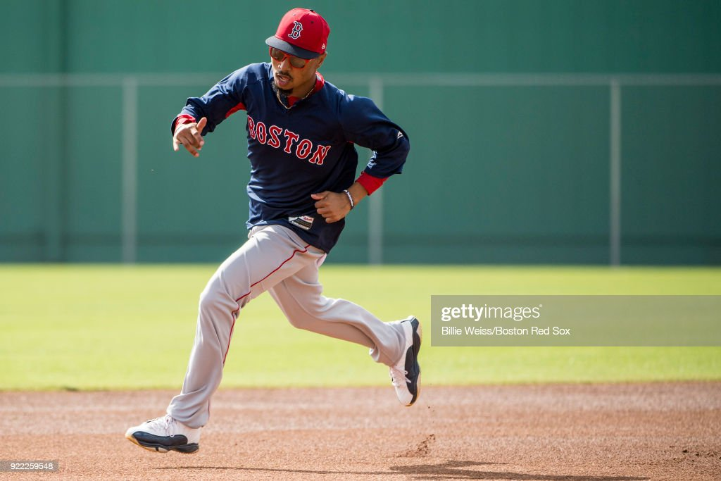 Mookie Betts #50 of the Boston Red Sox runs the bases during a team workout on February 21, 2018 at jetBlue Park at Fenway South in Fort Myers, Florida .