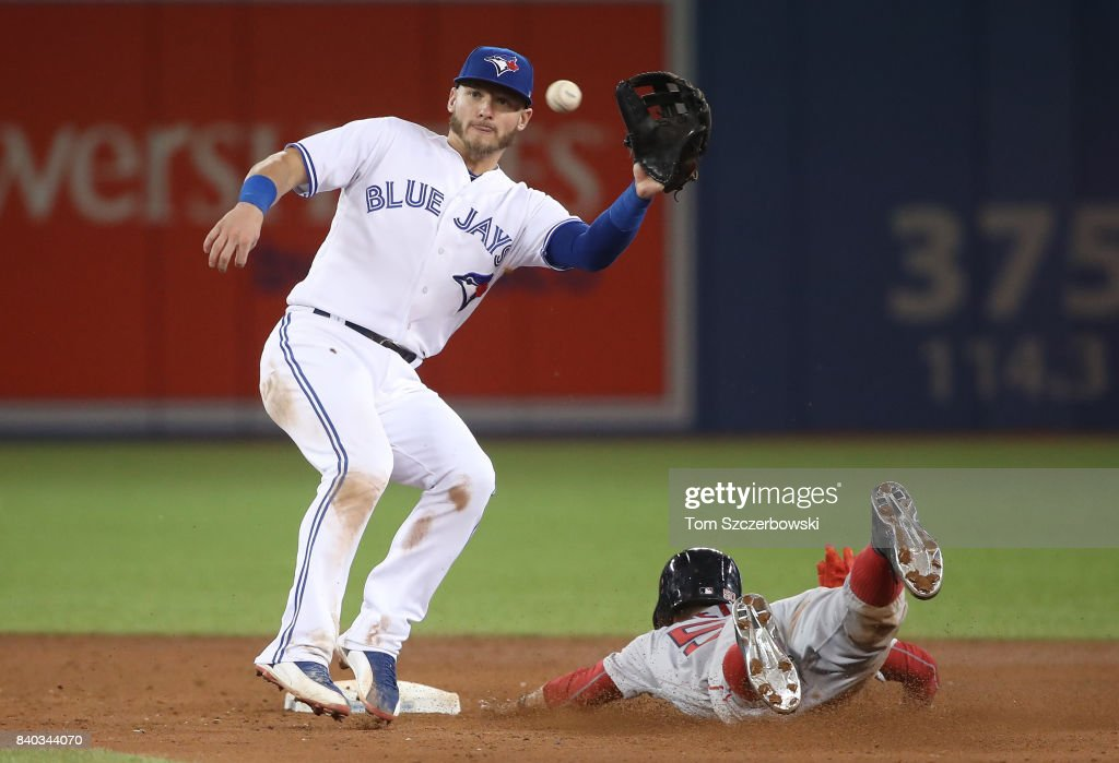 Mookie Betts #50 of the Boston Red Sox steals second base ahead of the throw to Josh Donaldson #20 of the Toronto Blue Jays in the ninth inning at Rogers Centre on August 28, 2017 in Toronto, Canada.