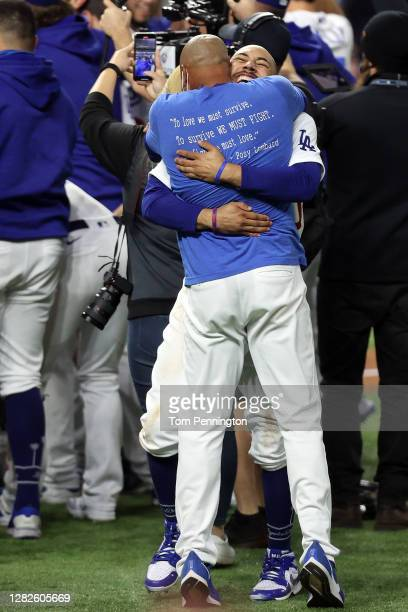 Mookie Betts of the Los Angeles Dodgers celebrates after defeating the Tampa Bay Rays 31 in Game Six to win the 2020 MLB World Series at Globe Life...