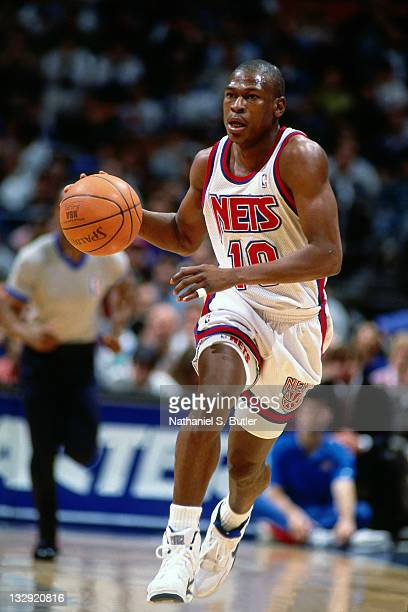 Mookie Blaylock of the New Jersey Nets dribbles circa 1991 at the Brendan Byrne Arena in East Rutherford New Jersey NOTE TO USER User expressly...