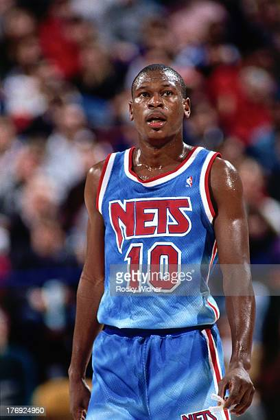 Mookie Blaylock of the New Jersey Nets looks on against the Sacramento Kings on January 28 1991 at Arco Arena in Sacramento California NOTE TO USER...