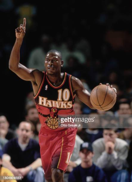 Mookie Blaylock, Point Guard for the Atlanta Hawks during the NBA Pre Season basketball game against the Los Angeles Lakers on 24th October 1997 at...