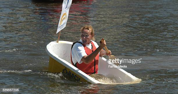 Moomba 2005 Tammy Van Wisse tries to turn her bath tub into a U Boat in the 2005 Bathtub Dash on the Yarra 14 March 2005 AGE NEWS Picture by MICHAEL...