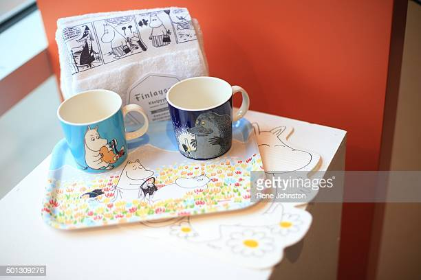 TORONTO ONTARIO DECEMBER 8 2015 Moomin tea of coffee set with tea towel It is the first anniversary of Page Panel Comicbook shop Page Panel opened a...