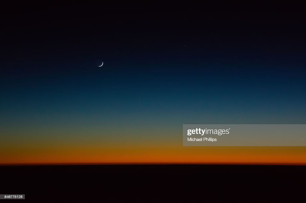 Moon after sunset : Stock Photo