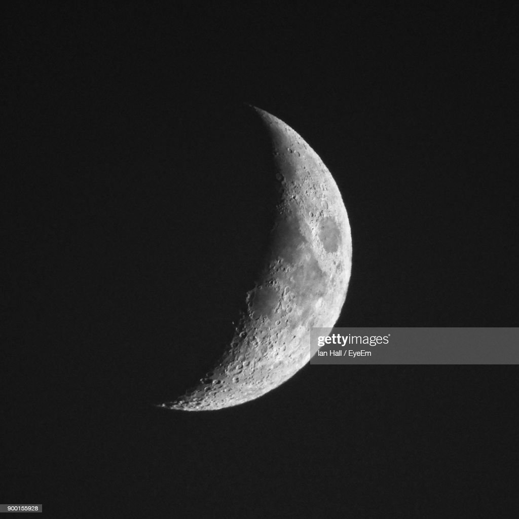 Moon Against Clear Sky At Night : Stock Photo