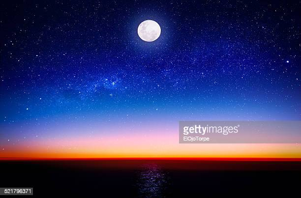 Moon and Milky Way on the beach