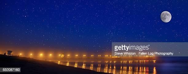Moon and Sars above Huntington Beach Pier