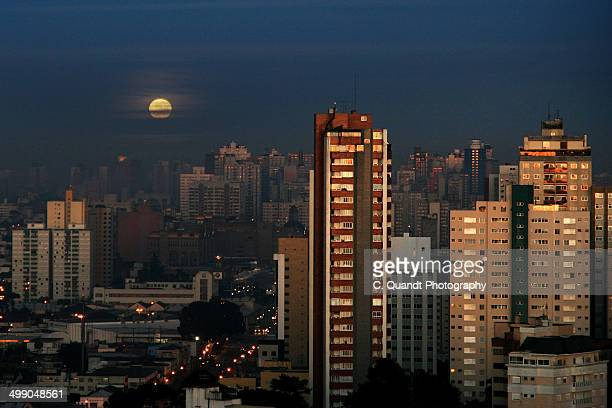 moon and skyline - curitiba stock pictures, royalty-free photos & images