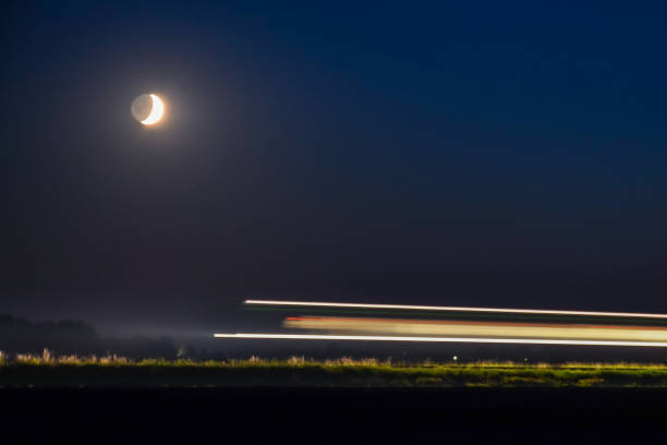 Moon and train