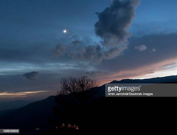 Moon and Venus conjunction above the village of Gazorkhan, Alamut region of Iran.
