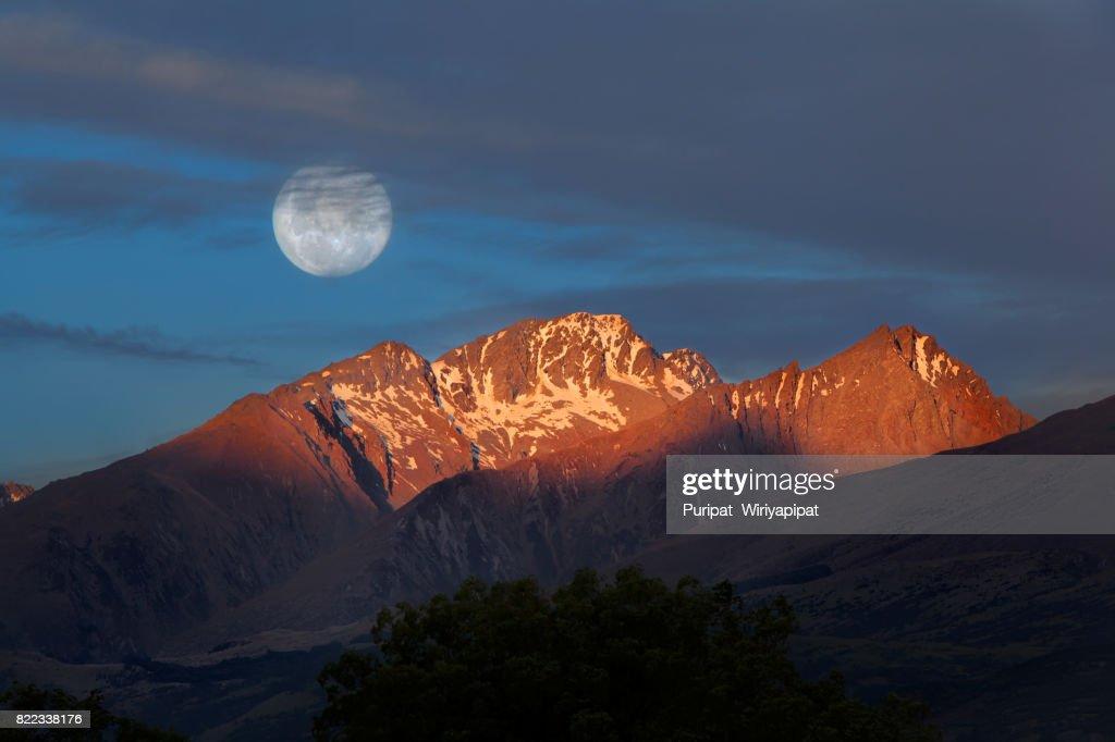 Moon at Kinloch, Lake Wakapitu : Stock Photo