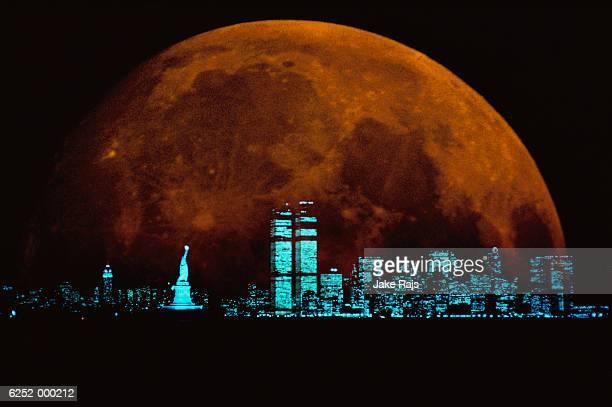 Moon Behind New York