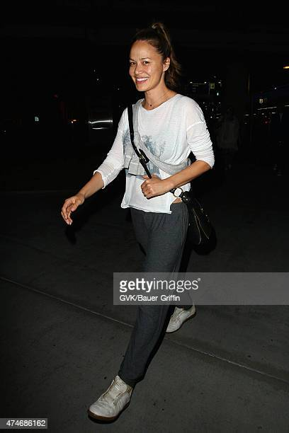 Moon Bloodgood is seen at LAX on May 24 2015 in Los Angeles California