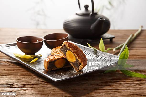 moon cake tea - moon cake stock pictures, royalty-free photos & images