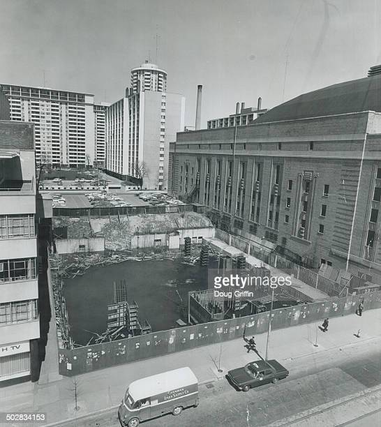 Moon crater near Maple Leaf Gardens - surrounded by a blue fence and empty since it was dug in the late '50s - was to have housed the Lord Carlton...