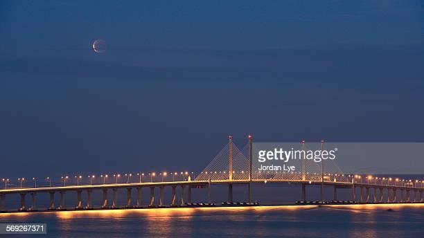 Moon eclipse on Penang Bridge