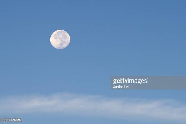 moon in blue sky - jour photos et images de collection
