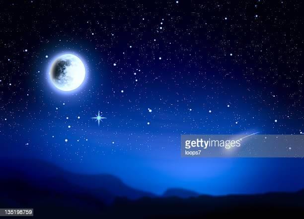 luna nel cielo notturno - stella cometa foto e immagini stock