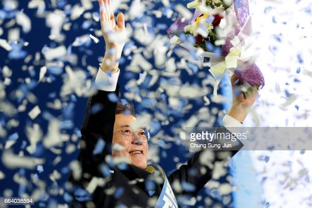 Moon Jae-In, presidential election candidate for the Democratic Party of Korea celebrates during the primary election on April 3, 2017 in Seoul,...