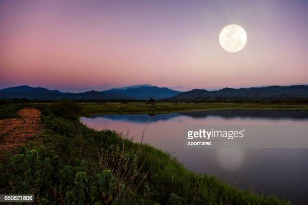 Moon light reflection over a country lagoon