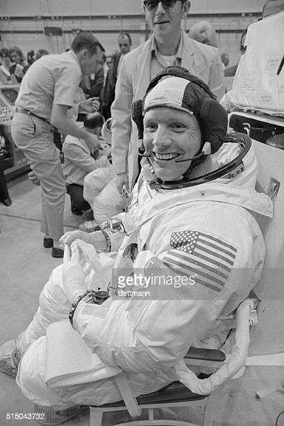 """""""Moon Man."""" Space Center, Houston: Astronaut Neil A. Armstrong seems the picture of confidence at the moment. Armstrong, in training for the..."""