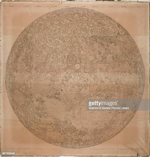 Moon map by Wilhelm Lohrmann based on observations made by him using a micrometer with a small refracting telescope by Fraunhofer Lohrmann a...