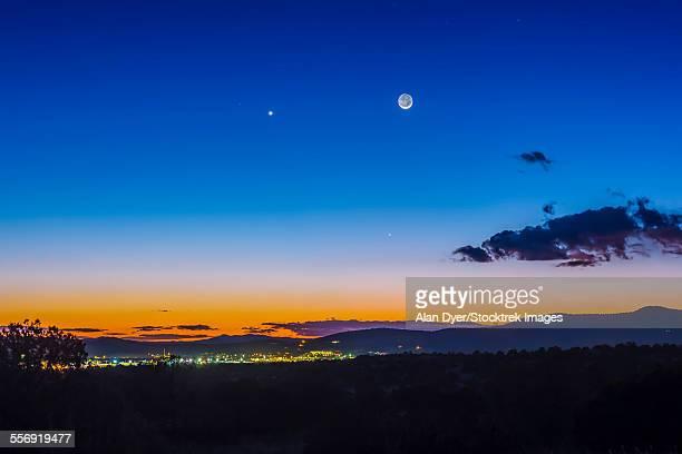 Moon, Mercury & Venus conjunction above Silver City, New Mexico.