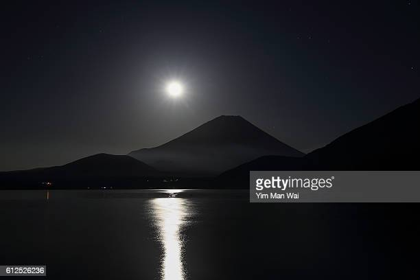 Moon night of Mount Fuji, Japan