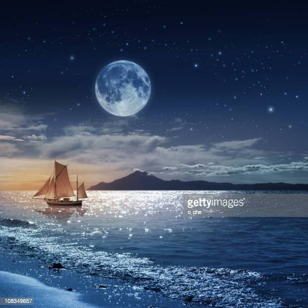 Moon night sea landscape with ship