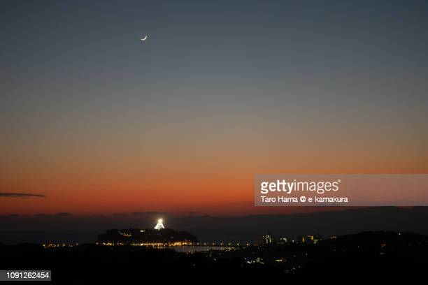Moon on Enoshima Island in Japan after the sunset