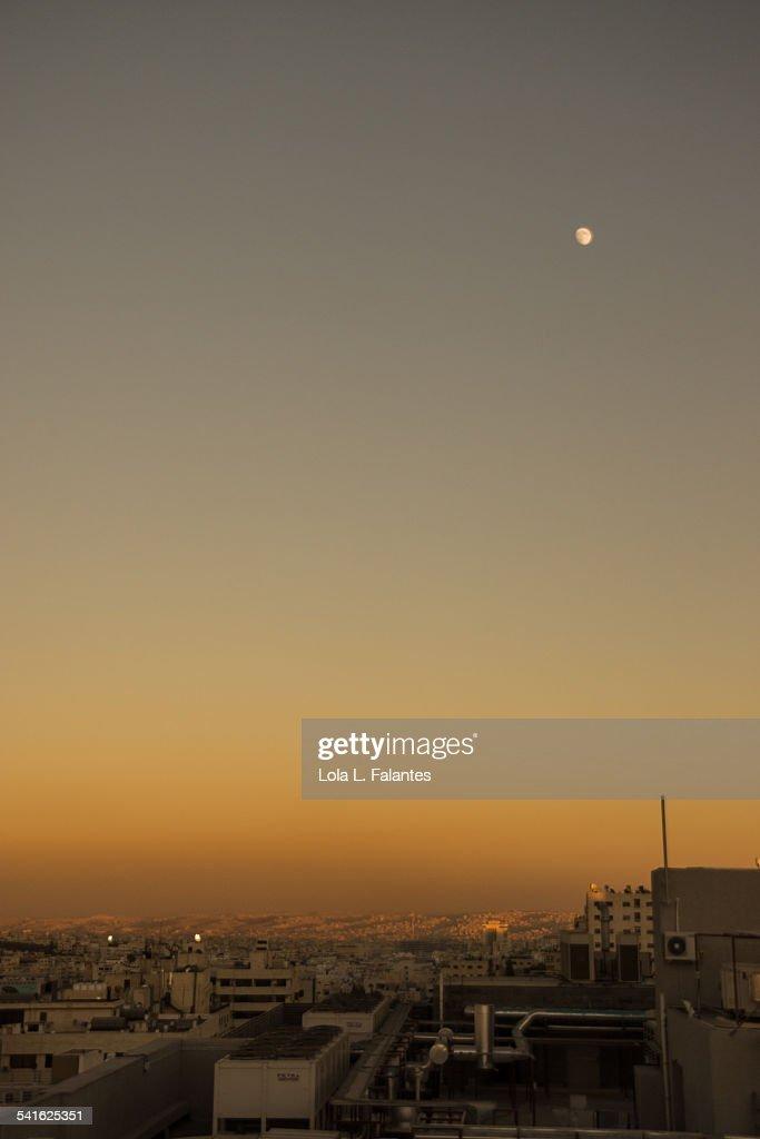 Moon over Amman : Stock Photo