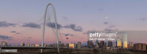 moon over dallas skyline - time to hunt stock pictures, royalty-free photos & images