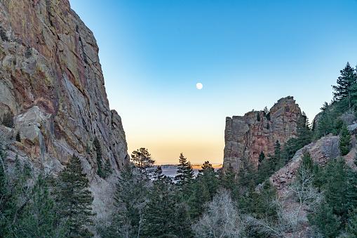 Moon Over Eldorado Canyon State Park 1087046684