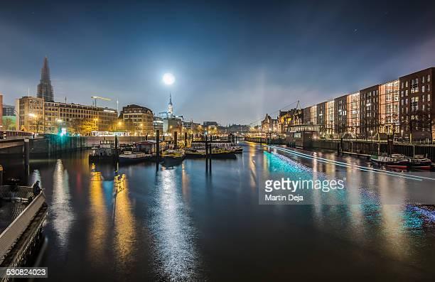 Moon over Hamburg Hafencity