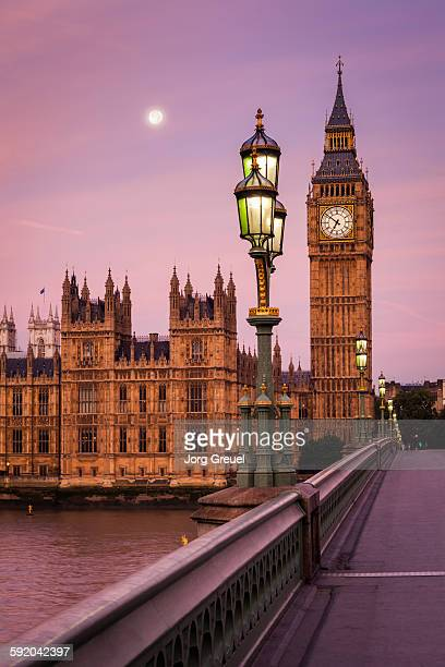 moon over london - big ben stock pictures, royalty-free photos & images