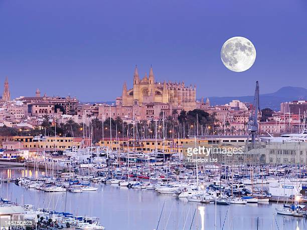 Moon over Palma Cathedral, Mallorca, Spain