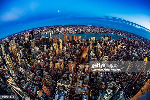 moon over planet new york - queens new york city stock pictures, royalty-free photos & images