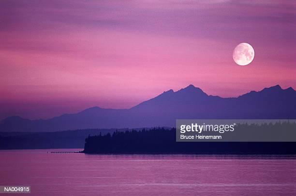 Moon over Puget Sound