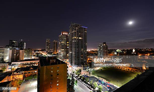 moon over the beltline - beltline stock pictures, royalty-free photos & images
